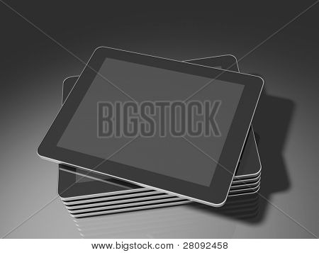 Stacked generic tablet PC / Touch panel computer with a blank screen, ready to overlay a custom screen or message. Buttons have been omitted to avoid giving impression of a specific model. 3d render.