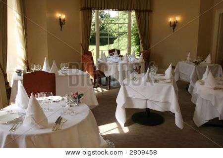 Hotel Restaurant Tables Set For Service
