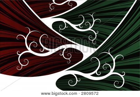 Red And Green Abstract Waves