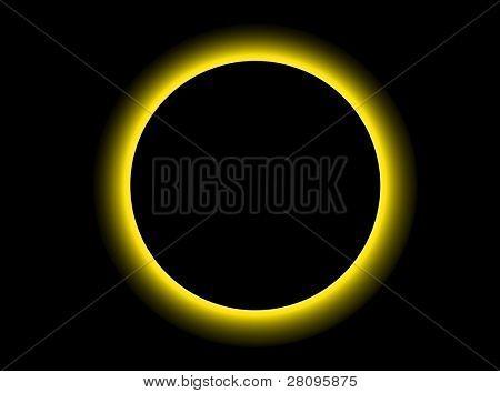 illustration of a strange planet in black sky