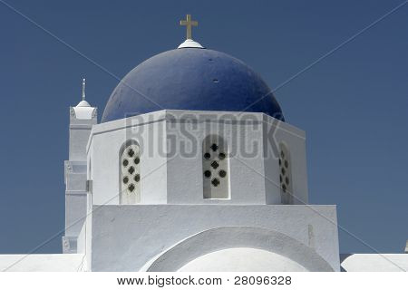 typical church of santorini island, in greece. village of Ia