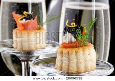 Black Caviar Canape And Champagne