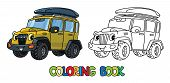 Funny Car Or Offroader With Eyes Coloring Book poster