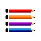 Pencil Vector Set Color Flat On White Background, Pencil Icon, Pencil Color Vector, Pencil Collectio poster