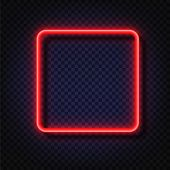 Neon Light Square Banner. Vector Neon Light Frame Sign. Realistic Glowing Red Neon Square Frame Isol poster