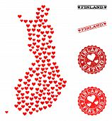 Mosaic Map Of Finland Formed With Red Love Hearts, And Grunge Watermarks For Dating. Vector Lovely G poster