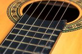 Closeup Wooden Classical Guitar. Old Classical Guitar With Nylon Strings. Old Acoustic Guitar poster