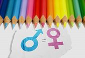 Colored Pencil With Equality Of Gender Symbol In The White Paper. Equality Gender Concept poster
