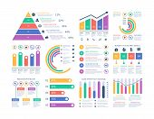 Analytics Infographics Elements. Data Graphic, Marketing Chart Diagram. Budget Flat Histogram. Stati poster