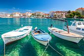 Boats In The Supetar Harbor On The Brac Island  At A Summer, Croatia, Europe. poster