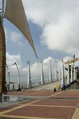 stock photo of guayaquil  - walkway bridge with symbol poles malecon 2000 guayaquil boardwalk ecuador - JPG