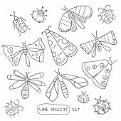 Big Line Hand Drawn Doodle Set With Insects. Beetle, Butterfly, Moth Collection In Handdrawn Style.  poster