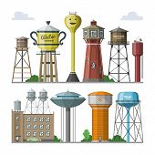 Water Tower Vector Tank Storage Watery Resource Reservoir And Industrial High Metal Structure Contai poster