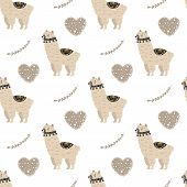 Cartoon Cute Doodle Seamless Pattern Illustration With Cute Fluffy Lamma. Endless Texture With Graph poster
