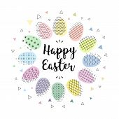Happy Easter. Hand Lettering Script Over Abstract Background With Colorful Easter Eggs. Vector Illus poster