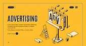 Advertising Agency Isometric Vector Web Banner. Ladder, Bucket With Glue And Partially Glued Banner  poster