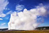 The most well-known of the world geyser in Yellowstone national park - Old Faithful. poster