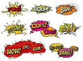 Comic book sound effect speech bubbles, expressions. Collection  bubble icon speech phrase, cartoon  poster