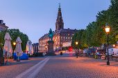Christiansborg Palace During Morning Blue Hour, Copenhagen, Capital Of Denmark poster