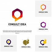 Set Of Modern Hexagon Business Consulting Agency Logo Template. Simple Digital Chat Logo Concept poster