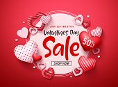 Valentines Day Sale Vector Banner. Valentines Day Sale Promotion Text With Hearts Elements And White poster