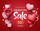 Valentines Day Sale Vector Banner. Sale Discount Text For Valentines Day Shopping Promotion With Hea poster