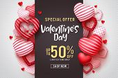 Valentines Day Vector Promotional Banner. Special Offer Text With Red Hearts Elements In White Backg poster