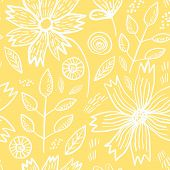 Tender Yellow Spring Outline Hand Drawn Floral Seamless Pattern. Romantic White Meadow Flowers, Leav poster