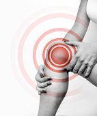 Acute Pain In A Knee Joint, Close-up Image Isolated On A White Background. Hands Touch The Painful P poster