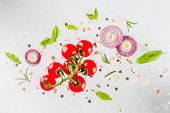 Fresh Vegetables, Herbs And Spices On White Background poster