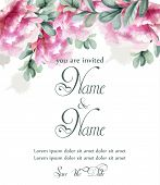Colorful Peony Flowers Watercolor Banner Vector. Floral Bouquet Invitation. Wedding Ceremony Events poster