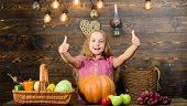 Grow Your Own Organic Food. Kid Farmer With Harvest Wooden Background. Harvest Festival Concept. Chi poster