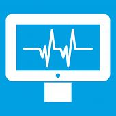 Electrocardiogram Monitor Icon White Isolated On Blue Background Illustration poster