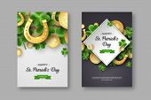 St. Patricks Day Posters. Clover Leaves, Golden Horseshoes And Coins On Spotted Background For Greet poster