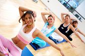 image of gym workout  - people at the gym during an aerobics class - JPG
