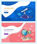 Astronomy Subject In School, Geography Discipline Web Pages Vector. Telescope With Zooming Lens, Sta poster
