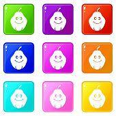Smiling Quince Fruit Icons Of 9 Color Set Isolated Illustration poster