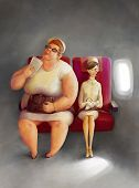 Two women in the airplane, illustration