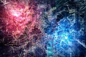 Psychedelic Background With Red And Blue Nebula As A Hot And Cold Substance And Its Fights, On An A poster