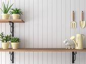 Wood Shelf 3d Render,there Are Empty White Plank Wall,decorate With Yellow Garden Equipment. poster