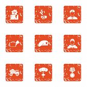 Army Icons Set. Grunge Set Of 9 Army Icons For Web Isolated On White Background poster