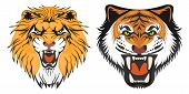 Lion And Tiger, The Head Of A Lion And A Tiger. Cartoon Illustration Of A Lion. Vector. poster