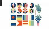 Technology 1 - Political Meeting - Flat Vector Concept Digital Illustration Political Meeting Metaph poster