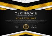 Certificate Template With Geometry Frame And Gold Badge. Black Background Design For Diploma, Certif poster