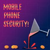 Handwriting Text Mobile Phone Security. Concept Meaning Secure Data On Mobile Devices Wireless Secur poster