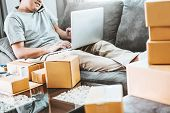Sme Freelance Man Working With Packaging Startup Entrepreneur Small Business Owner At Home,online Bu poster