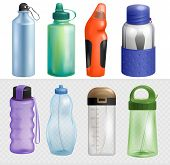 Sport Bottle Vector Sportive Water Bottled Drink Thermo And Fitness Plastic Energy Beverage With Str poster