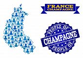 People Combination Of Blue Population Map Of Champagne Province And Scratched Seal Stamp. Vector Sea poster