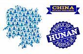 People Composition Of Blue Population Map Of Hunan Province And Scratched Seal Stamp. Vector Seal Wi poster