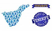 People Combination Of Blue Population Map Of Tenerife Island And Scratched Seal. Vector Seal With Sc poster